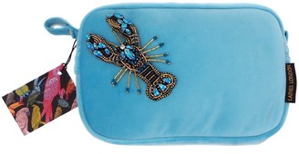 Laines London Turquoise Velvet Bag With Crystal Blue Lobster Brooch