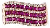 Ring 14K Ruby & Diamond Wave Band