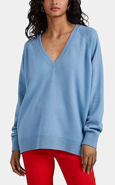 Givenchy Women's Zip-Detailed Wool-Cashmere V-Neck Sweater - Lt. Blue