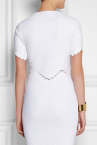 Cropped embossed stretch-jersey top