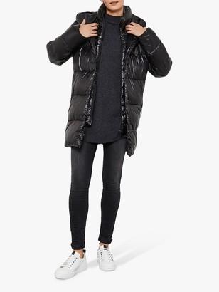 Mint Velvet Wet Look Padded Coat, Black