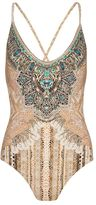 Camilla Crystalized Coin Print Cross Back One-Piece Swimsuit