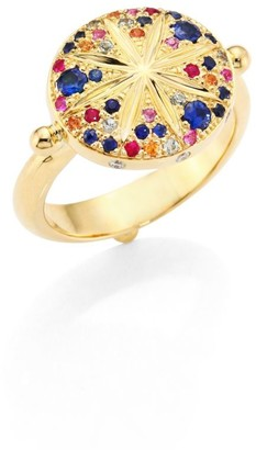 Temple St. Clair Sorcerer Diamond, Multicolor Sapphire & 18K Yellow Gold Ring