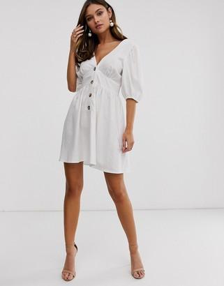 Asos Design DESIGN button through linen mini dress with cross back-White