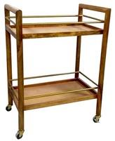 Threshold Wood and Gold Bar Cart