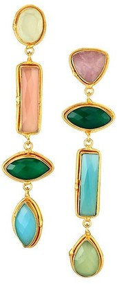 Sylvia Toledano Cascade 22K Goldplated & Multi-Stone Linear Clip-On Earrings