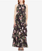 Tahari Floral-Print Tiered Halter Gown