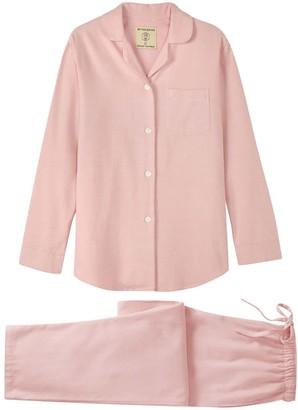 British Boxers Women's Powder Pink Herringbone Brushed Cotton Pyjama Set