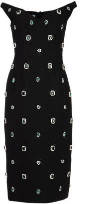 Prada Crystal Embellished V-Neck Midi Dress