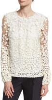 Co Long-Sleeve Pebble Lace Blouse, Ivory