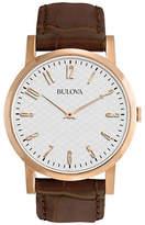 Bulova Analog Goldtone Leather Strap Dress Watch