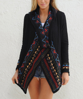 Paparazzi Black & Red Embroidered Hooded Open Cardigan