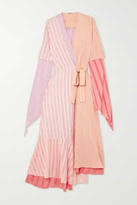 Loewe Asymmetric Ribbed-knit, Satin-jacquard And Devore Silk-chiffon Wrap Dress - Blush