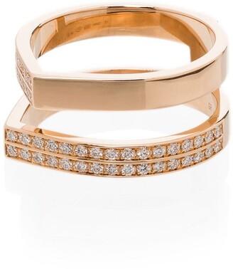 Repossi 18kt rose gold Antifer double diamond ring