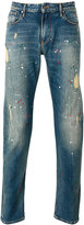 Armani Jeans distressed paint splatter jeans