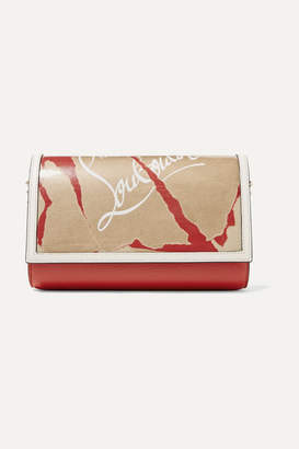 Christian Louboutin Paloma Kraft Spiked Printed Textured-leather And Pvc Clutch - one size