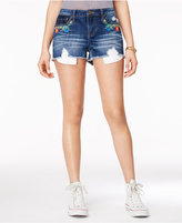 Rampage Juniors' Embroidered Denim Shorts