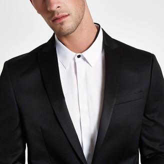 River Island Mens Black satin skinny suit jacket