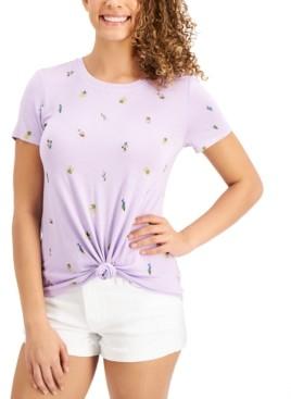 Self Esteem Juniors' Floral-Print Knot-Hem T-Shirt