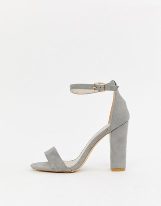 Glamorous barely there gray block heeled sandals-Pink