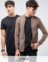 Asos Jersey Muscle Fit Bomber Jacket/black Longline T-shirt 2 Pack Save