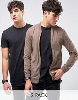 Asos Jersey Muscle Fit Bomber Jacket/black Longline T-shirt 2 Pack