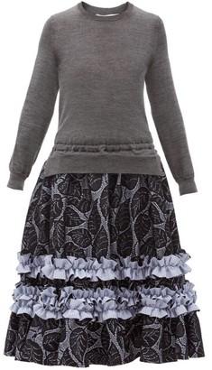 Comme des Garçons Comme des Garçons Panelled Cotton-jersey And Leaf Wool-mesh Dress - Grey Multi