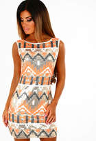 Pink Boutique Party On Orange and Gold Aztec Print Sequin Mini Dress
