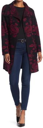 Vertigo Floral Drape Collar Cardigan Sweater Coat