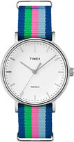 Timex Womens Weekender Blue Striped Strap Watch