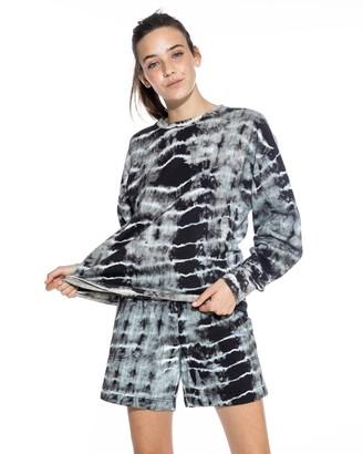 Nicole Miller Tie Dye Crew Neck Sweatshirt