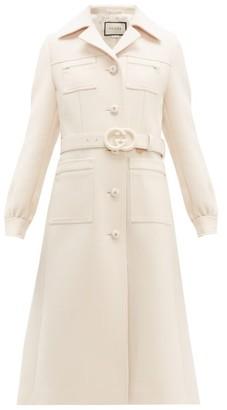 Gucci Gardenia Gg-belt Single-breasted Wool Coat - Womens - Ivory
