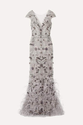 Marchesa Embellished Feather-trimmed Tulle Gown - Stone