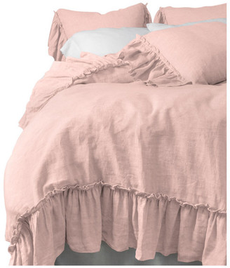 Amity Home Collette Linen Duvet Cover Set, Petal Pink, Queen