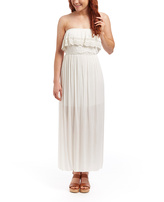 Ivory Crochet-Ruffle Strapless Maxi Dress