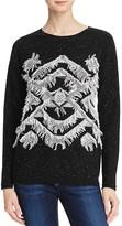 Aqua Cashmere Geo Fringe Cashmere Sweater