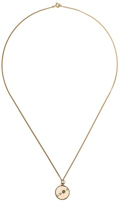 WWAKE 14kt Yellow Gold Small Medallion Diamond And Opal Necklace