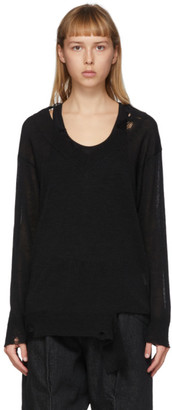 Yohji Yamamoto Black Destroyed V-Neck Long Sleeve Sweater