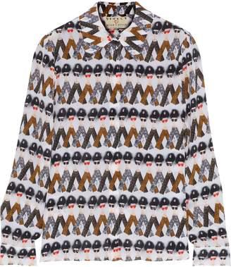 Alice + Olivia Willa Printed Silk Crepe De Chine Shirt