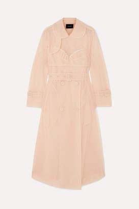 Simone Rocha Ruffled Embellished Tulle Trench Coat - Neutral