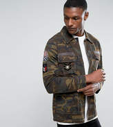 Asos Tall Military Jacket In Camo