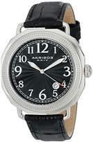 Akribos XXIV Men's AK770SSB Swiss Quartz Movement Watch with Black Dial and Leather Strap
