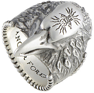 Gucci Anger Forest Silver Eagle Head Ring