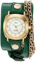 La Mer Women's 'Portland Chain' Quartz Gold-Tone and Leather Watch, Color:Green (Model: LMMULTI2016314)