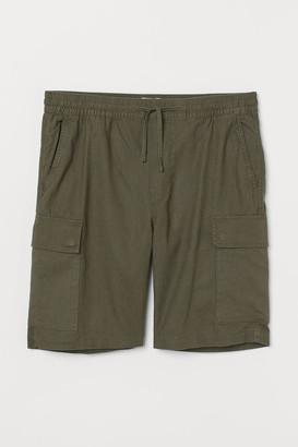 H&M Linen-blend Utility Shorts - Green