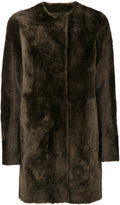 Drome furry detail buttoned up coat - women - Lamb Skin/Leather - S