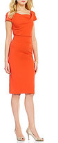 Adrianna Papell Cowl-Neck Ruched Sheath Dress