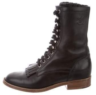 Chanel Sock Combat Boots