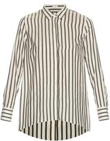 Brunello Cucinelli Handkerchief-hem striped-silk shirt