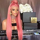Kerrywigs Grade 10A Brazilian Human Hair Ombre Pink Full Lace Wigs Free Part For Black Women Glueless Lace Front Human Hair Wigs High Ponytail 130 Density-26inch full lace wig